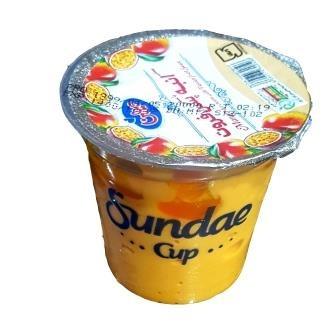 بستنی ساندی کاپ انبه با سس پشن فروت پاندا